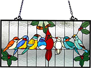Chloe Lighting 24.5x12.5 Aves Tiffany-Glass Gathering Birds Window Panel