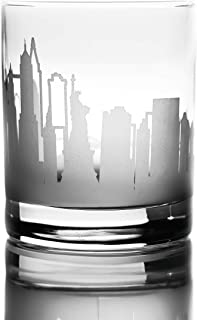 Greenline Goods Whiskey Glasses - 10 Oz Tumbler for New York Lovers (Single Glass) | Etched with New York Skyline | Old Fashioned Rocks Glass