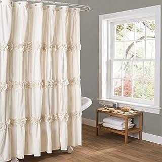 Lush Decor, Ivory Darla Ruched Floral Bathroom Shower Curtain, x 72