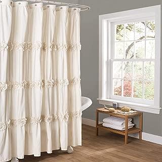 "Lush Decor Darla Ruched Floral Bathroom Shower Curtain, x 72"", Ivory"