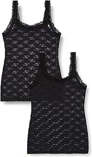 Marca Amazon - Iris & lilly Camiseta de Tirantes de Encaje Mujer, Pack de 2
