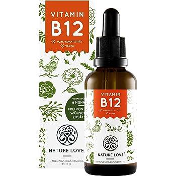 NATURE LOVE® Vitamin B12 Tropfen Vegan in 50ml (1700 Tropfen). Beide aktive B12 Formen: Methyl- & Adenosylcobalamin. Hoch bioverfügbar, laborgeprüft, ohne Zusätze, in Deutschland produziert