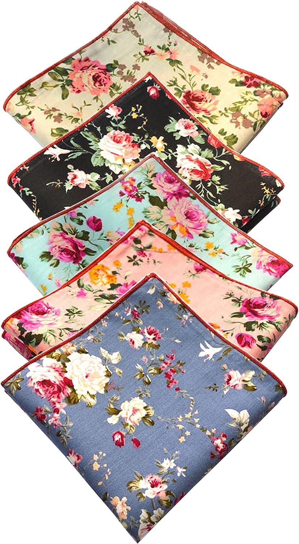 Cotton Floral Pocket Square for Men Fashion Set of 5