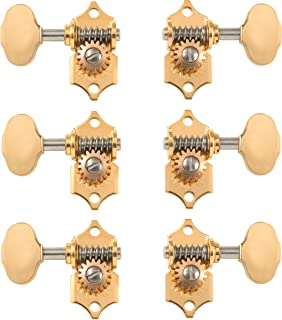 Waverly Guitar Tuners with Butterbean Knobs for Slotted Pegheads, Gold, 3L/3R