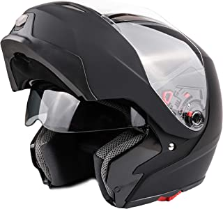 Adult Modular Motorcycle DOT Dual Visor Full Face Flip-up Helmet Matte Black XL