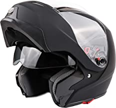 Adult Modular Motorcycle DOT Dual Visor Full Face Flip-up Helmet Matte Black XL