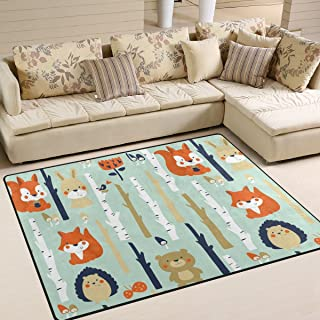 Naanle Fox Area Rug 5'x7', Forest Background with Cute Animals in Cartoon Style Polyester Area Rug Mat for Living Dining Dorm Room Bedroom Home Decorative