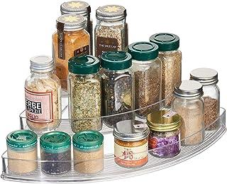 iDesign Especiero con 3 niveles estantería esquinera de plástico con diferentes alturas para cocina organizador de armar...