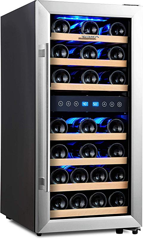 Phiestina Dual Zone Wine Cooler Refrigerator 33 Bottle Free Standing Compressor Fridge And Chiller For Red And White Wines 16 Glass Door Wine Refrigerator With Digital Memory Temperature Control