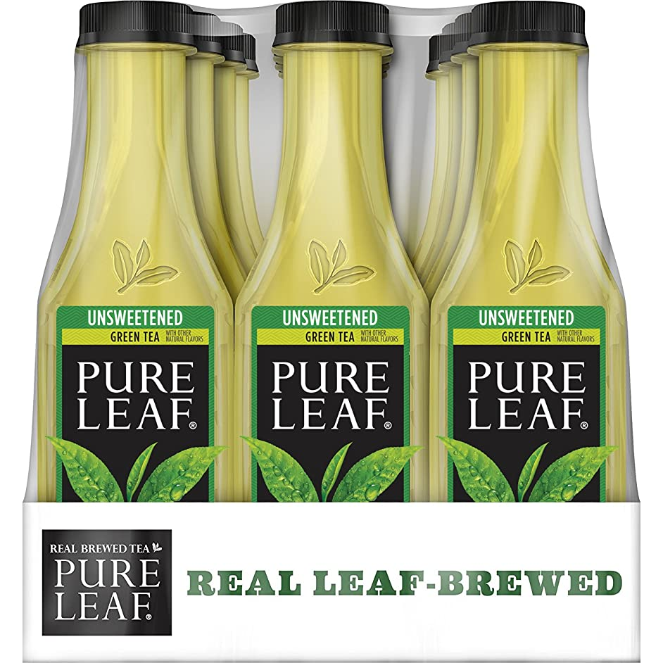 Pure Leaf, Iced Tea, 0 Calorie Unsweetened Green Tea, Real Brewed Tea, 18.5 fl oz. bottles  (12 Pack)