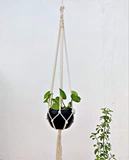 Trendy Home 100% Cotton Macrame Plant Hanger with Black Metal Pot for Indoor/Outdoor Wall Hanging Planter | Flower Pot for...