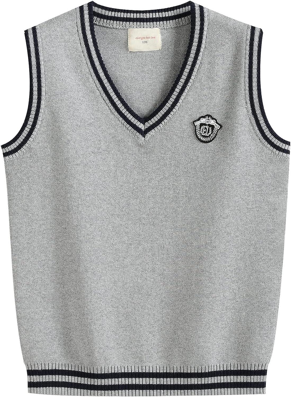 Happy Cherry Kids Boy Girl Unfirm School Knitted Vest Cotton V-Neck Sweater Waistcoat for Unisex Children 4-12 Years