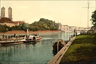 24x36 Poster . Oder River, Cathedral Island, Wroclaw, Poland 1890 Steamboat