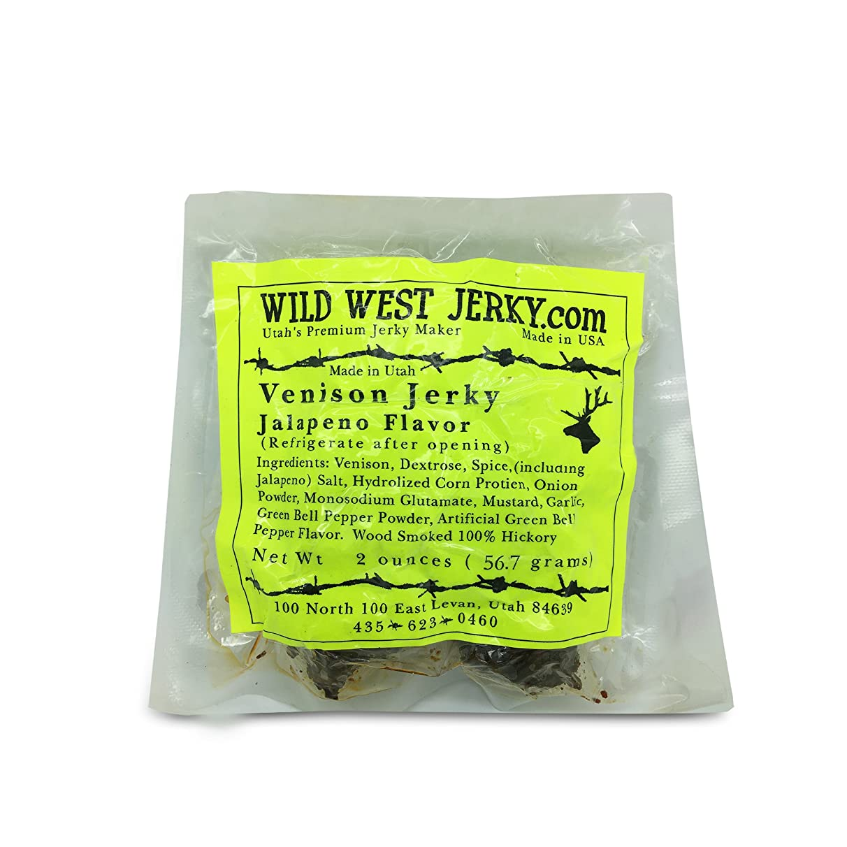 #1 BEST Premium 100% Natural Grass Fed Hand Stripped 2 OZ. Thick Cut Delicious Tasty Bold Flavor Venison (Deer) Jerky from Utah USA - Smoked With Hickory Wood by Wild West Jerky