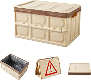 FACAI 56L Collapsible Storage Bins and Storage Box Organizer with Lid,Leak Proof Collapsible Organizer for Home,Outdoor or Garden,Brown