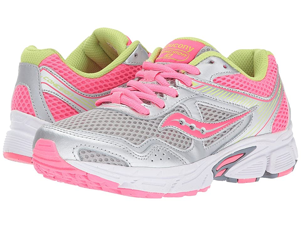 Saucony Kids Cohesion 10 LTT (Little Kid/Big Kid) (Grey/Coral) Girls Shoes