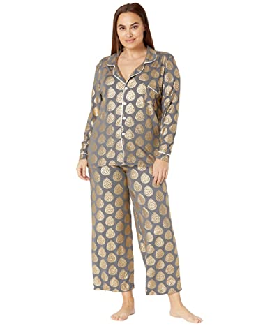 Kickee Pants Plus Size Collared Pajama Set (Pewter Pinecones) Women