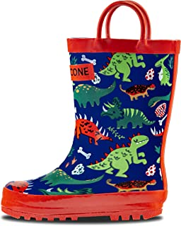 761029cc110f LONECONE Rain Boots with Easy-On Handles in Fun Patterns for Toddlers and  Kids
