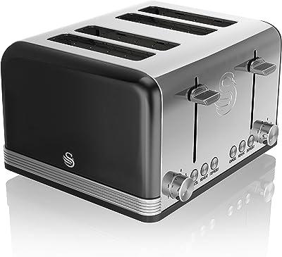 Swan ST19020BN 4-Slice Retro Toaster, 1600 W, Black