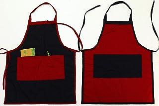 2 Grembiuli cucina chef con tasche e bordi cuciti a contrasto