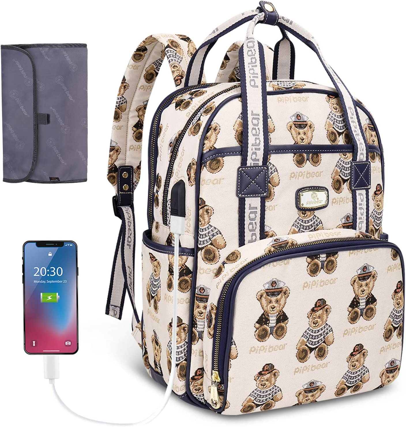 Diaper Bag Backpack,Pipi bear Travel Diaper Backpack with USB Charging Port and Changing Pad, Stylish Large Capacity Mummy Maternity Nappy Bag ( Cream )