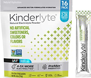 Kinderlyte Electrolyte Powder, Advanced Hydration, Easy Open Packets, Supplement Drink Mix (Lemon Lime, 16 Count)