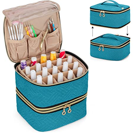 Luxja Detachable 2 Layers Nail Polish Organizer - Hold 40 Bottles (15ml - 0.5 fl.oz), Nail Polish Case with Tools Storage Pockets (Patented Design), Teal