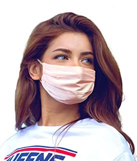 Fashion Silk Face Mask with Trendy Design Beautiful Looks for Ladies Washable Reusable Durable & Dust Filter Pockets to Ho...