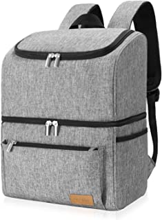 Lifewit Cooler Backpack Leakrproof 32 Can Insulated Lightweight Backpack Cooler, Large Capacity Soft-Sided Double Decker C...