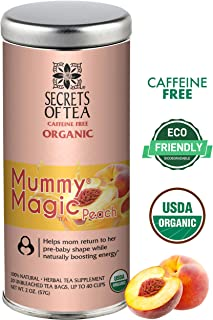 Mummy Magic Weight Loss Postpartum Tea- USDA Organic- 20 Biodegradable Sachets, Naturally Support Metabolism, Increases Energy Levels & Digestion -40 Cups (Mummy Magic Peach)
