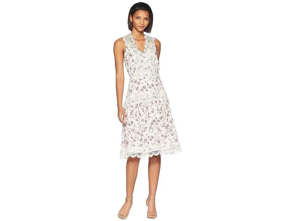 Adelyn Rae Payton Woven Midi Dress (Cream/Lilac) Women