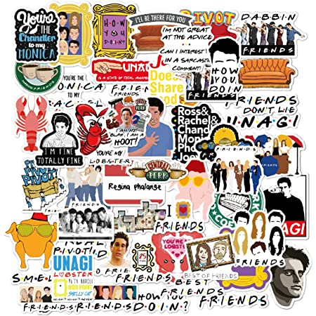 34pcs//set American Friends TV show Stickers for Laptop Skateboard Home Decoration Car Styling Vinyl Decals Doodle Cool DIY works toy gift stickers for kids teens adaults