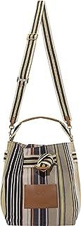 CODELLO Damen Beutel-Tasche | Streifen | 100% Baumwolle Canvas | 31 x 24 x 17 cm