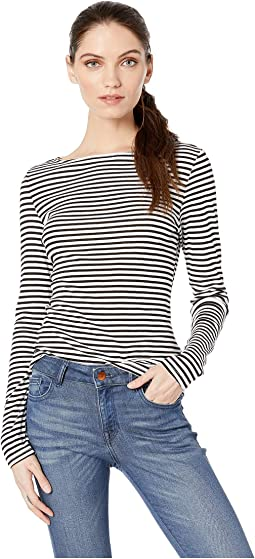 Kailee Supima Stripe Long Sleeve Clean Boat Neck Top