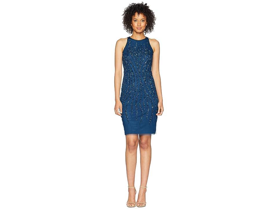 Adrianna Papell Beaded Halter Cocktail Dress (Deep Blue) Women