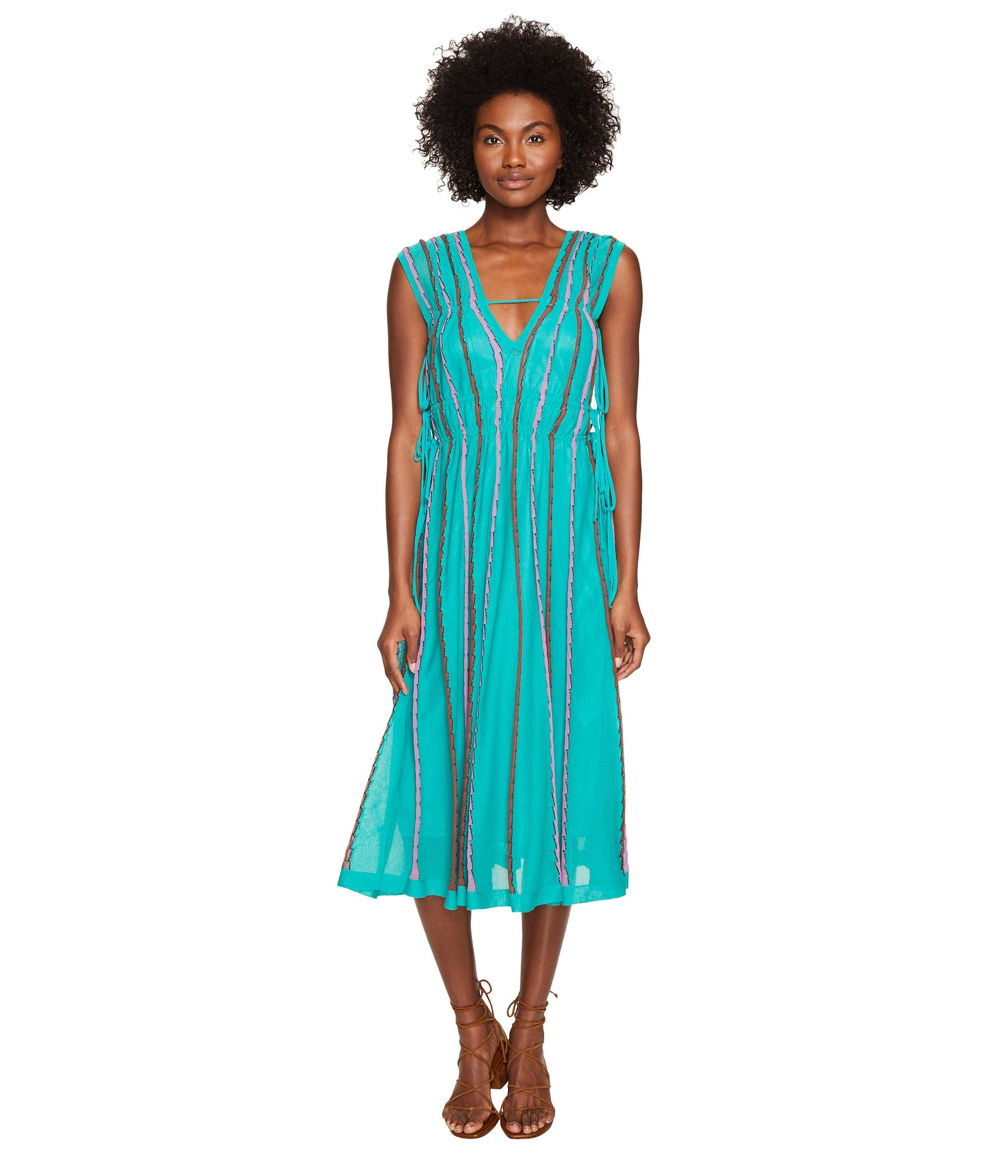 Vertical Triangle Knit Dress, Turquoise