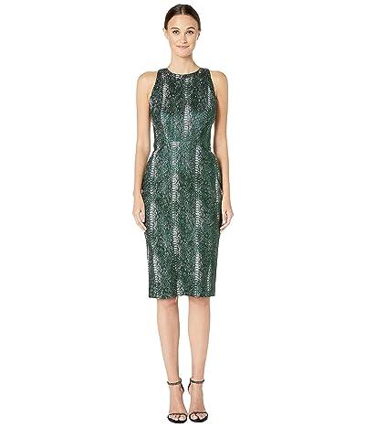Zac Posen Metallic Party Jacquard High Neck Sleeveless Fitted Cocktail Dress (Python Jade) Women