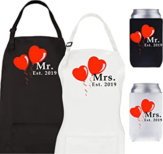 Let the Fun Begin Couples Wedding Gifts - Mr and Mrs Est. 2019 Aprons & Coolers Gift Set - His Hers Engagement Bridal Shower Present for Bride Groom Hubby Wifey