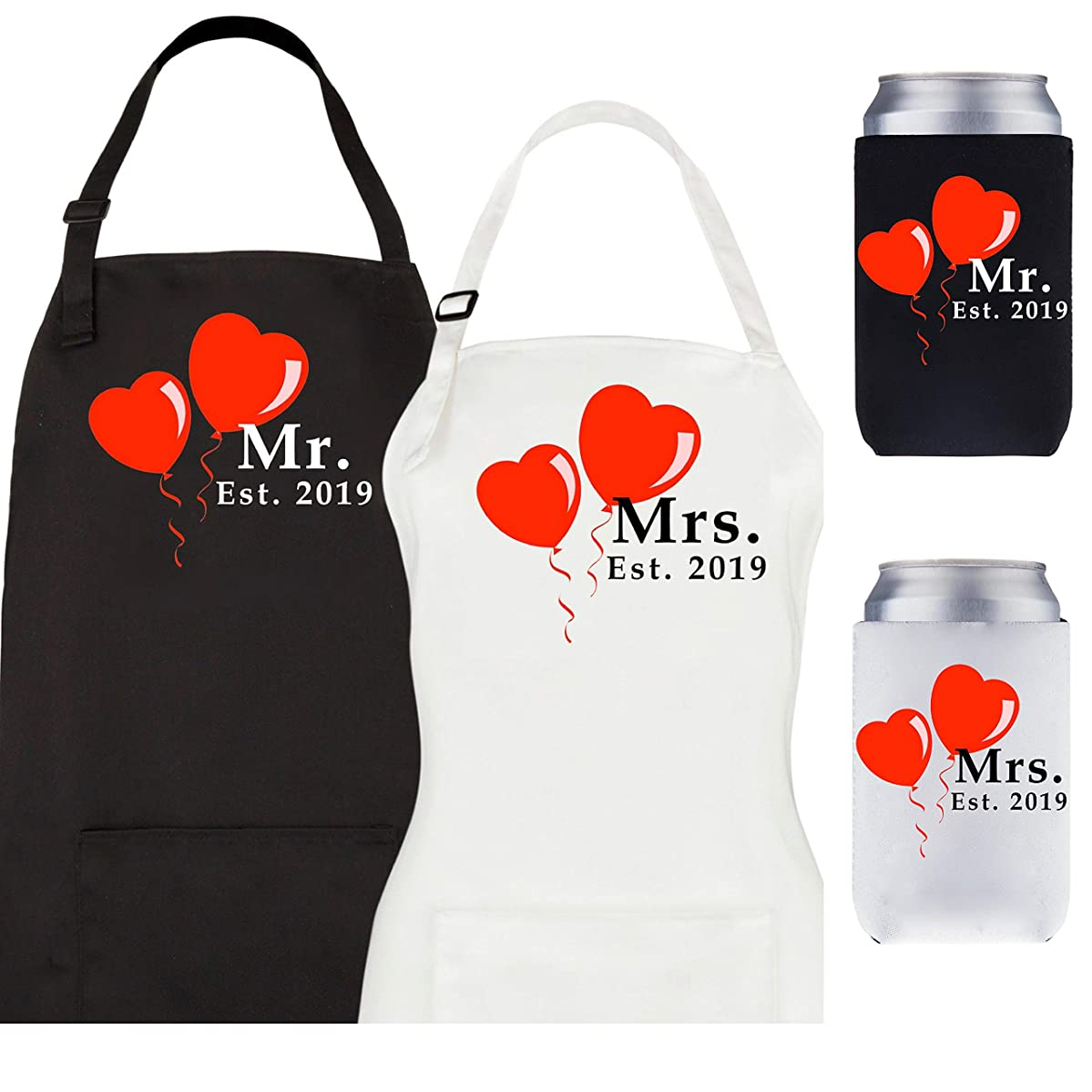 Let the Fun Begin Mr and Mrs Est. 2019 Aprons and Coolers Set, Couples Wedding Engagement Gifts, His Hers Bridal Shower Gift for Bride Groom Hubby Wifey
