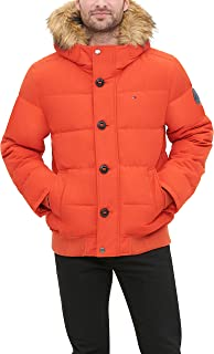 Tommy Hilfiger Men's Arctic Cloth Quilted Snorkel Bomber Jacket with Removable Faux Fur Trimmed Hood