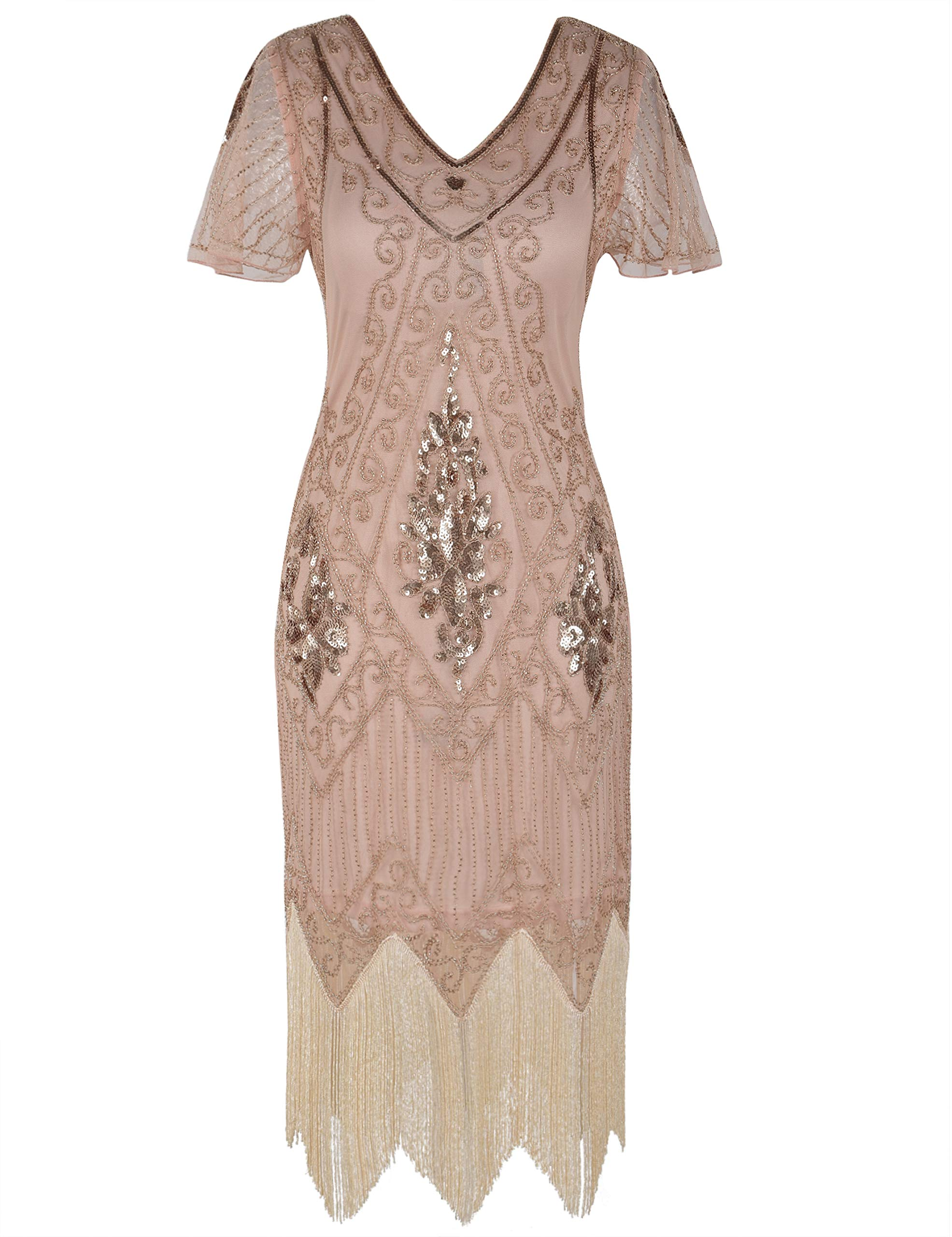 Mother Of The Bride Dresses - Women's 1920s Dress Sequin Art Deco Flapper Dress With Sleeve