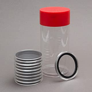 (1) Airtite Coin Holder Storage Container & (10) Black Ring 32mm Air-tite Coin Holder Capsules for 1oz American Gold Eagles and 1oz Gold Krugerrands & Kangaroos