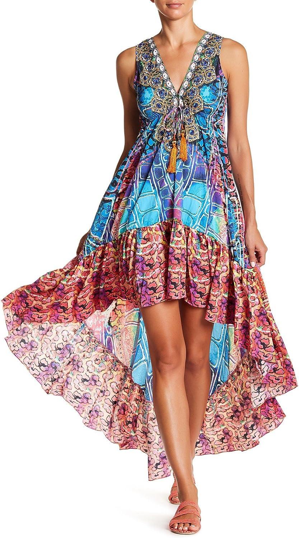 Goga Hi Lo Dress In Chameleon Print From LA Moda Clothing