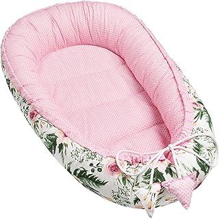 Solvera Ltd - Nido para bebé de 2 caras, coco, ecológico, para recién nacidos, 100% algodón, suave y seguro, 50 x 90 cm rosa Color rosa.