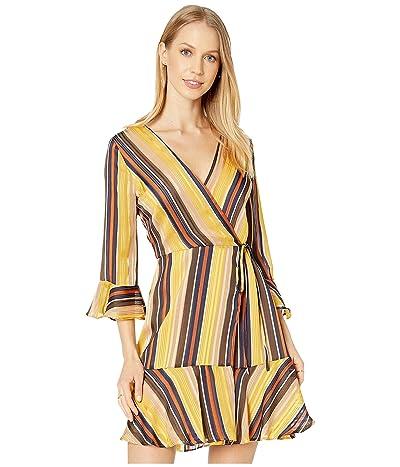 Miss Me Striped Wrap Dress (Multi Yellow) Women