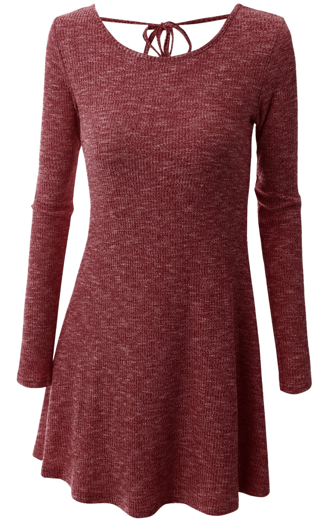 Available at Amazon: chouyatou Women's Stylish Back U-Neck String Shaping Body Long Sleeve Knit Dress