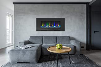 Cambridge CAM42WMEF-2BLK 42 In. Wall-Mount Electric Fireplace in Black with Multi-Color Flames and Driftwood Log Display