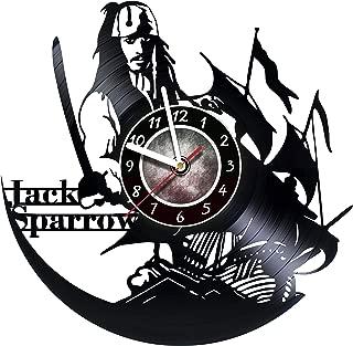 Jack Sparrow - Captain - Wall Clock Made Of Vinyl Record - Original Decor - Unique Design - Incredible Gift Idea For Christmas Birthday Anniversary Women Men Boyfriend Girlfriend Teens Friends