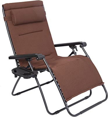 LUCKYBERRY Oversize XL Padded Zero Gravity Mesh Lounge Chair Dark Brown Wider Armrest Adjustable Recliner with Cup Holder, Support 350 LBS