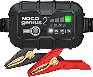NOCO GENIUS2, 2-Amp Fully-Automatic Smart Charger, 6V and 12V Battery Charger, Battery Maintainer, Trickle Charger, and Ba...